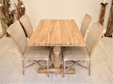 Load image into Gallery viewer, Rectangular Reclaimed Teak Dining Set with 4 Rattan Dining Chairs