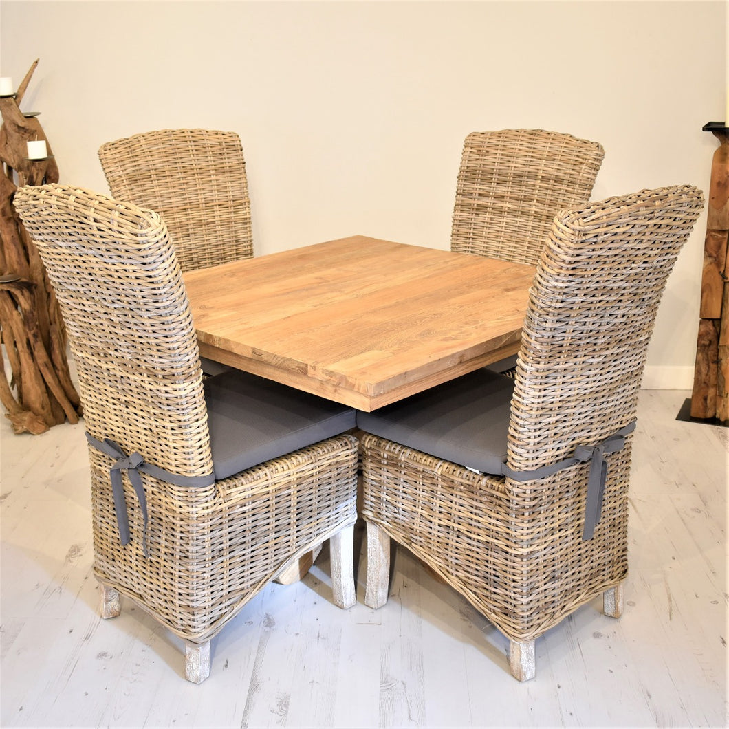 Square Reclaimed Teak Dining Set with 4 Natural Kubu Chairs