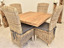 Load image into Gallery viewer, Square Reclaimed Teak Dining Set with 4 Natural Kubu Chairs