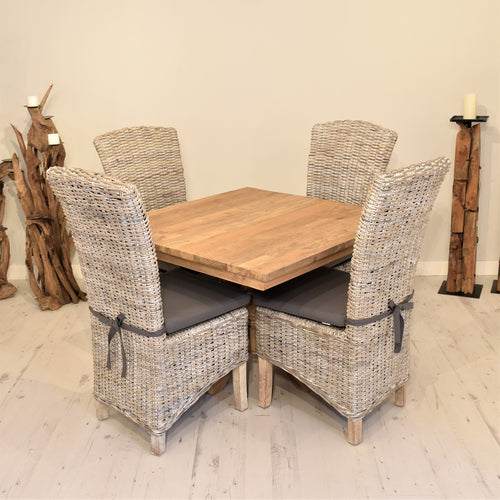 Square Reclaimed Teak Dining Set with 4 Whitewash Kubu Chairs