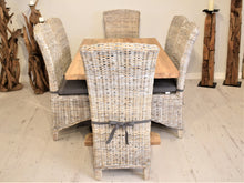 Load image into Gallery viewer, Rectangular Reclaimed Teak Dining Set with 6 Whitewash Kubu Chairs