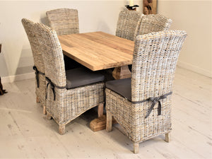 Rectangular Reclaimed Teak Dining Set with 6 Whitewash Kubu Chairs