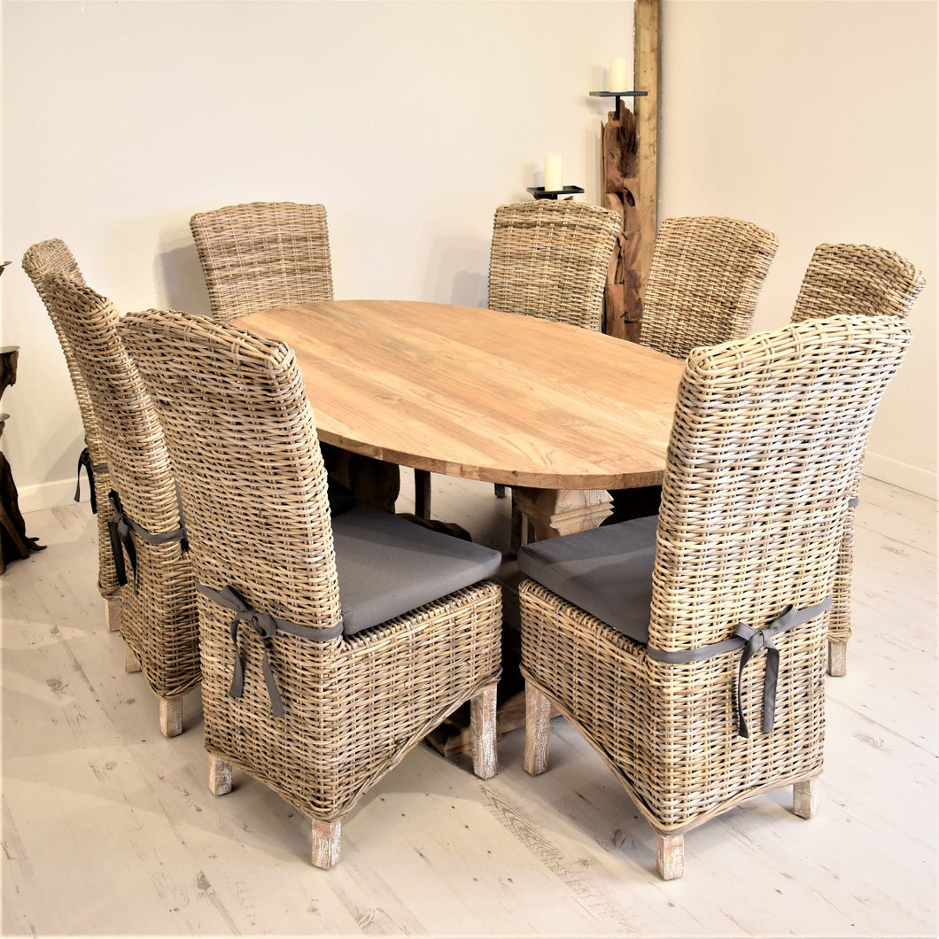 Oval Reclaimed Teak Dining Set with 8 Natural Kubu Chairs