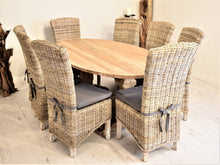 Load image into Gallery viewer, Oval Reclaimed Teak Dining Set with 8 Natural Kubu Chairs