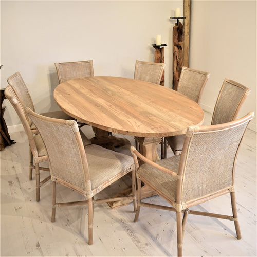 Oval Reclaimed Teak Dining Set with  8 Rattan Dining Chairs and Armchairs