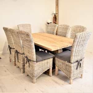 Rectangular Reclaimed Teak Dining Set with 8 Whitewash Kubu Chairs