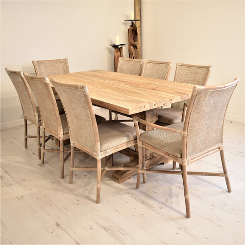 Rectangular Reclaimed Teak Dining Set with 8 Rattan Dining Chairs and Armchairs