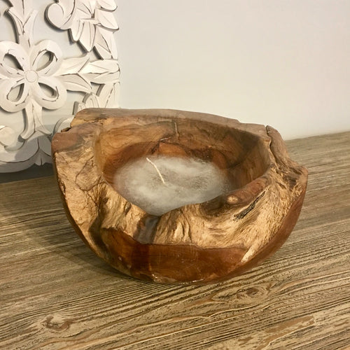 Reclaimed Wood Candle Bowl - Small