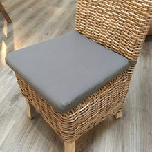 Load image into Gallery viewer, Natural Kuba chair with grey cushion.