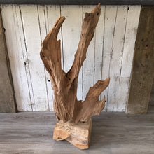 Load image into Gallery viewer, Abstract Wood Sculpture On Stand - Medium