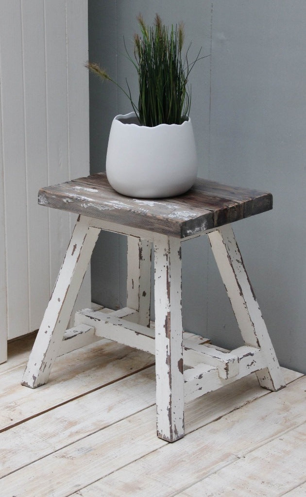 Vintage White Wash Stool