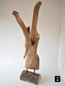 Abstract Wood Sculpture On Stand - Medium