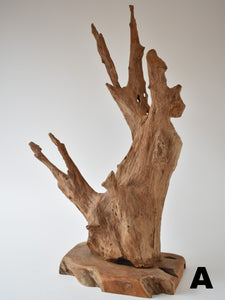 Abstract Wood Sculpture On Stand - Small