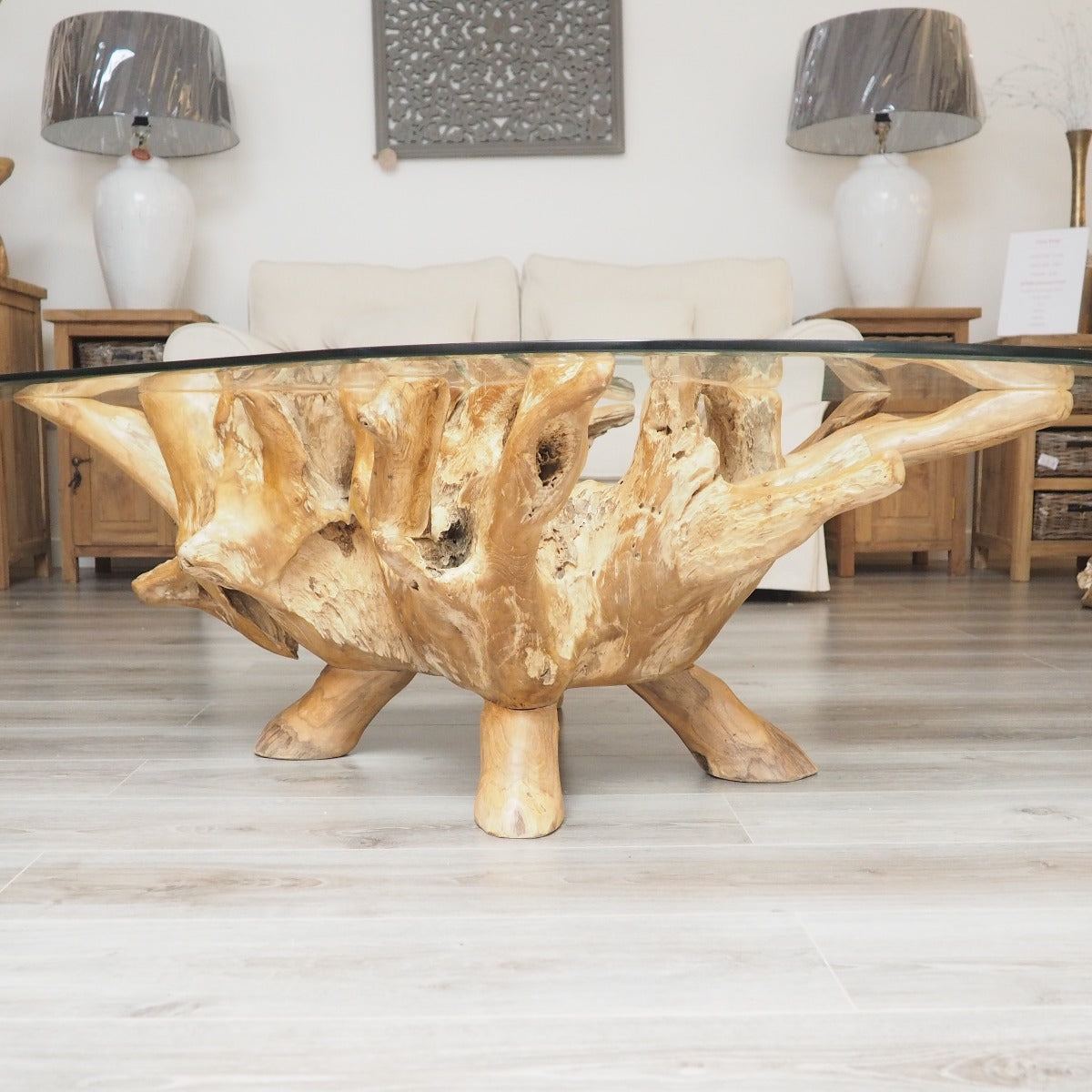 Teak Root Oval Coffee Table - 150x100cm – Rustic House ...