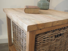 Load image into Gallery viewer, Reclaimed Wood Side Table With Wicker Drawer
