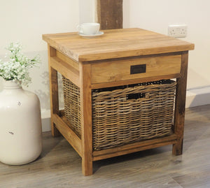 Reclaimed Wood Side Table With Drawer