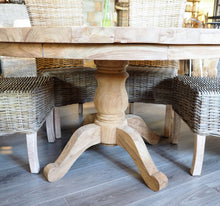 Load image into Gallery viewer, 180cm Round reclaimed teak dining table, close up side view