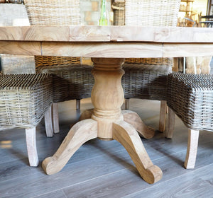 180cm Round reclaimed teak dining table, close up side view