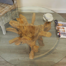 Load image into Gallery viewer, Round reclaimed teak root 100cm coffee table, view of the glass top.