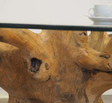 Load image into Gallery viewer, Round reclaimed teak root coffee table, close view of root.
