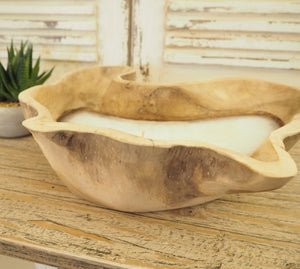 Rustic Wooden Candle Bowl