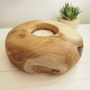 Round  Wooden Candle Bowl