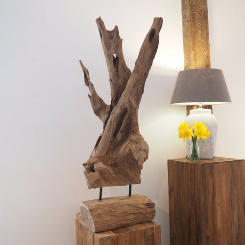 Decorative Wood Artefact On Stand - Medium