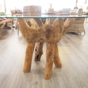 Reclaimed Teak Root Round Dining Table 120cm