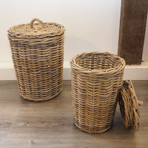 Round Wicker Storage Bin 'Campos' - Large