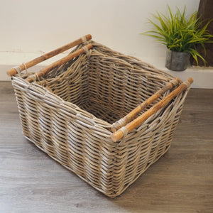 Wicker Basket with Wooden Handles 'Carmona' - Small