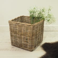 Load image into Gallery viewer, Square Natural Wicker Basket - Small