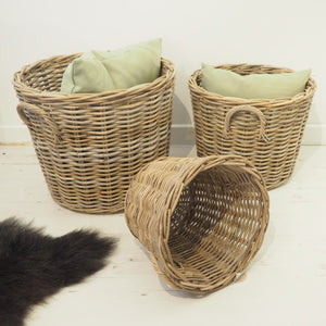 Round Natural Wicker Basket - Large