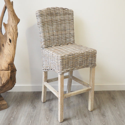 Whitewash Wicker Bar Stool