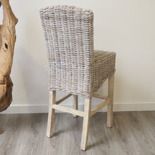 Load image into Gallery viewer, Whitewash Wicker Bar Stool
