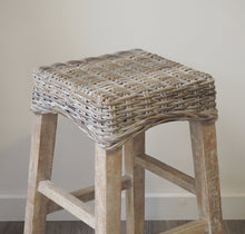 Load image into Gallery viewer, Whitewash Wicker Kitchen Counter Stool