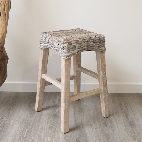 Whitewash Wicker Kitchen Counter Stool