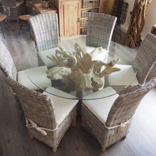 Load image into Gallery viewer, Round Teak Root Dining Set with 6 Whitewash Kubu Chairs