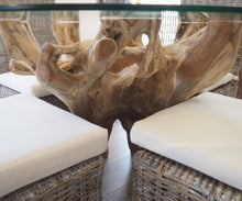 Load image into Gallery viewer, Round Teak Root Dining Set with 4 Natural Kubu Chairs