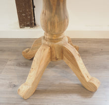 Load image into Gallery viewer, 100cm reclaimed teak table, close view of pedestal.