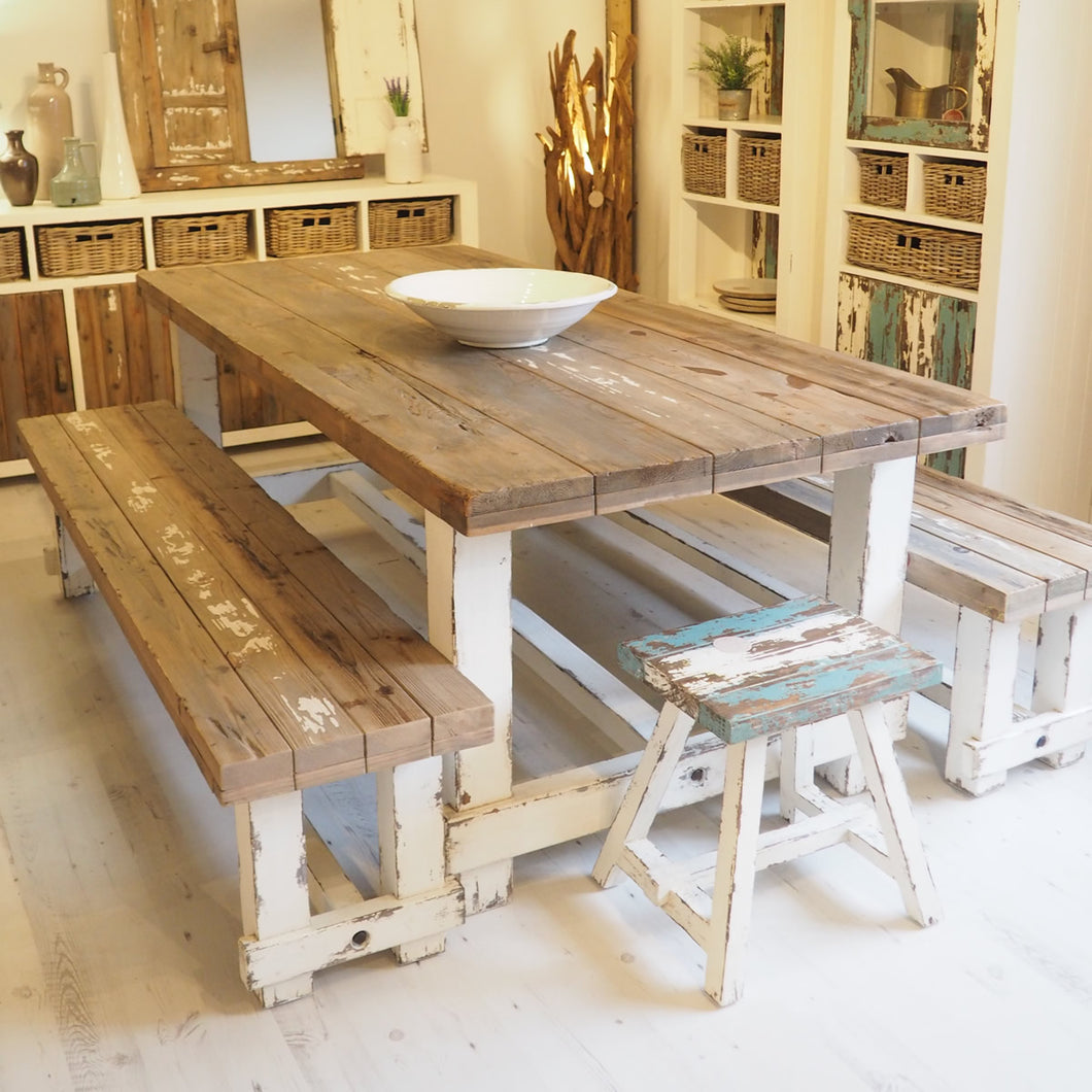 240cm Farmhouse Dining Set with Benches (Seats 8)
