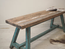 Load image into Gallery viewer, Reclaimed Pine Bench With Blue Legs