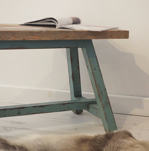 Reclaimed Pine Bench With Blue Legs