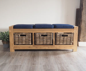 Hallway Storage Bench With Wicker Drawers - 3 Seater