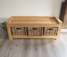 Load image into Gallery viewer, Hallway Storage Bench With Wicker Drawers - 3 Seater
