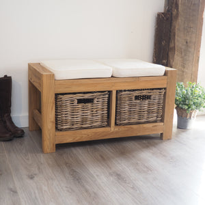 Hallway Storage Bench With Wicker Drawers - 2 Seater