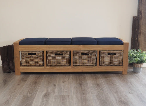 Hallway Storage Bench With Wicker Drawers - 4 Seater