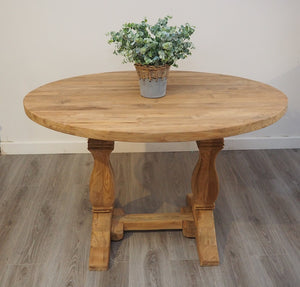 Oval Reclaimed Teak Dining Set with 4 Natural Kubu Chairs