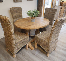 Load image into Gallery viewer, Oval Reclaimed Teak Dining Set with 4 Natural Kubu Chairs