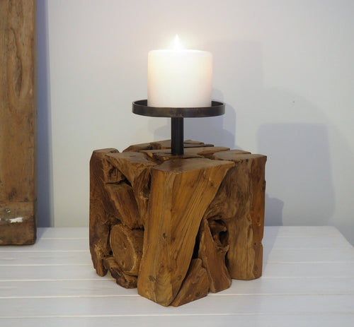 Rustic Wood Pillar Candle Holder - Frida (Square)