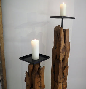 Extra Tall Reclaimed Wood Pillar Candle Holder